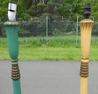 Pair Painted Standard Lamps